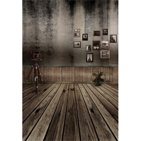 HelloDecor Polyester 5x7ft Artistic Background Girl Photography Backdrops Wedding Old Traveling Picture Wall Camera Stand Fan Wooden Floors Adults Boy Child Por