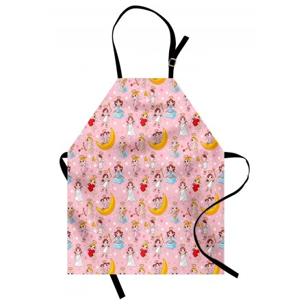 Angel Apron Fairies Playing Music Halo Cheerful Supernatural Creatures  Nursery Theme, Unisex Kitchen Bib Apron with Adjustable Neck for Cooking  Baking