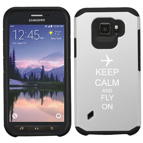 For Samsung Galaxy (S6 Active) Shockproof Impact Hard Soft Case Cover Keep Calm And Fly On Airplane (Silver)