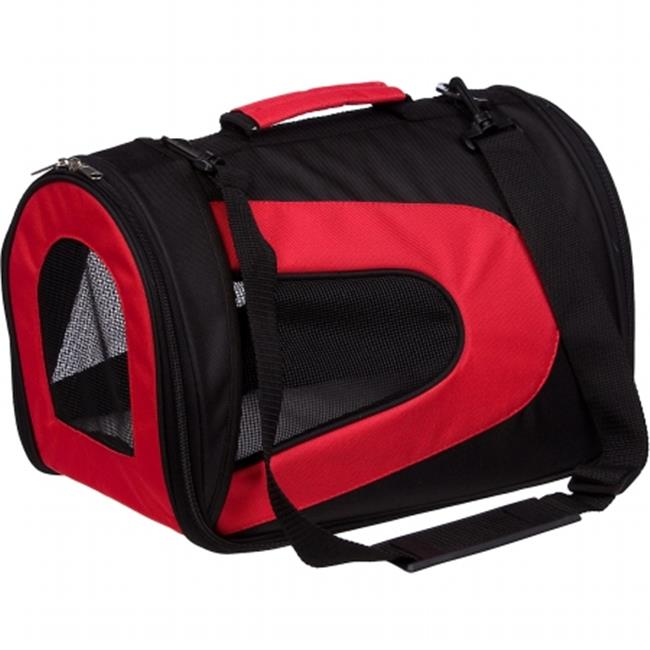 Pet Life B7RDLG Airline Approved Folding Zippered Sporty Mesh Pet Carrier - Red & Black, Large