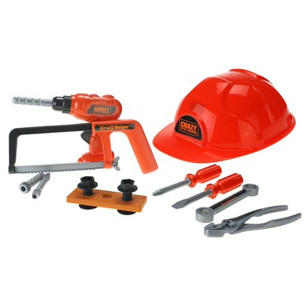 Crazy Little Helper Toy Tool Set W  Hard Hat  Toy Saw  Adjustable Toy Drill  3 Different Drill Heads   2 Screwdrivers  Wrench  Pliers  And Nuts   Bolts