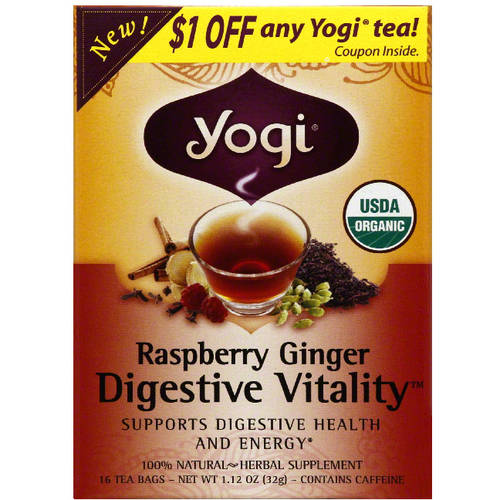 Yogi Tea Yogi Organic Raspberry Ginger Digestive Vitality Herbal Supplement Tea, 1.12 oz, (Pack of 6)