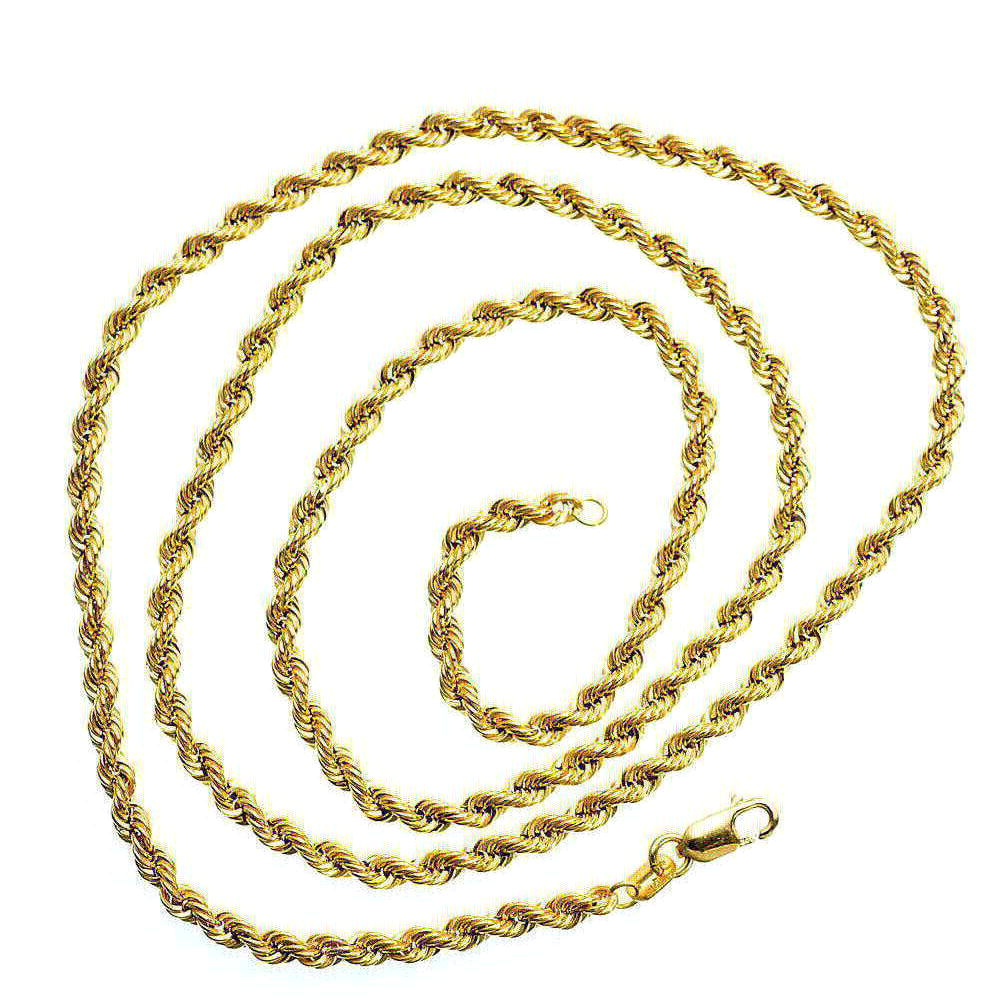 Mens Rope Link Real Solid 10K Yellow Gold 2.3 gram 2.1 mm Necklace 24 in