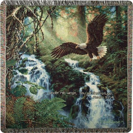 Eagle Flight Bible Verse Tapestry Throw Blanket with Fringe Border 50