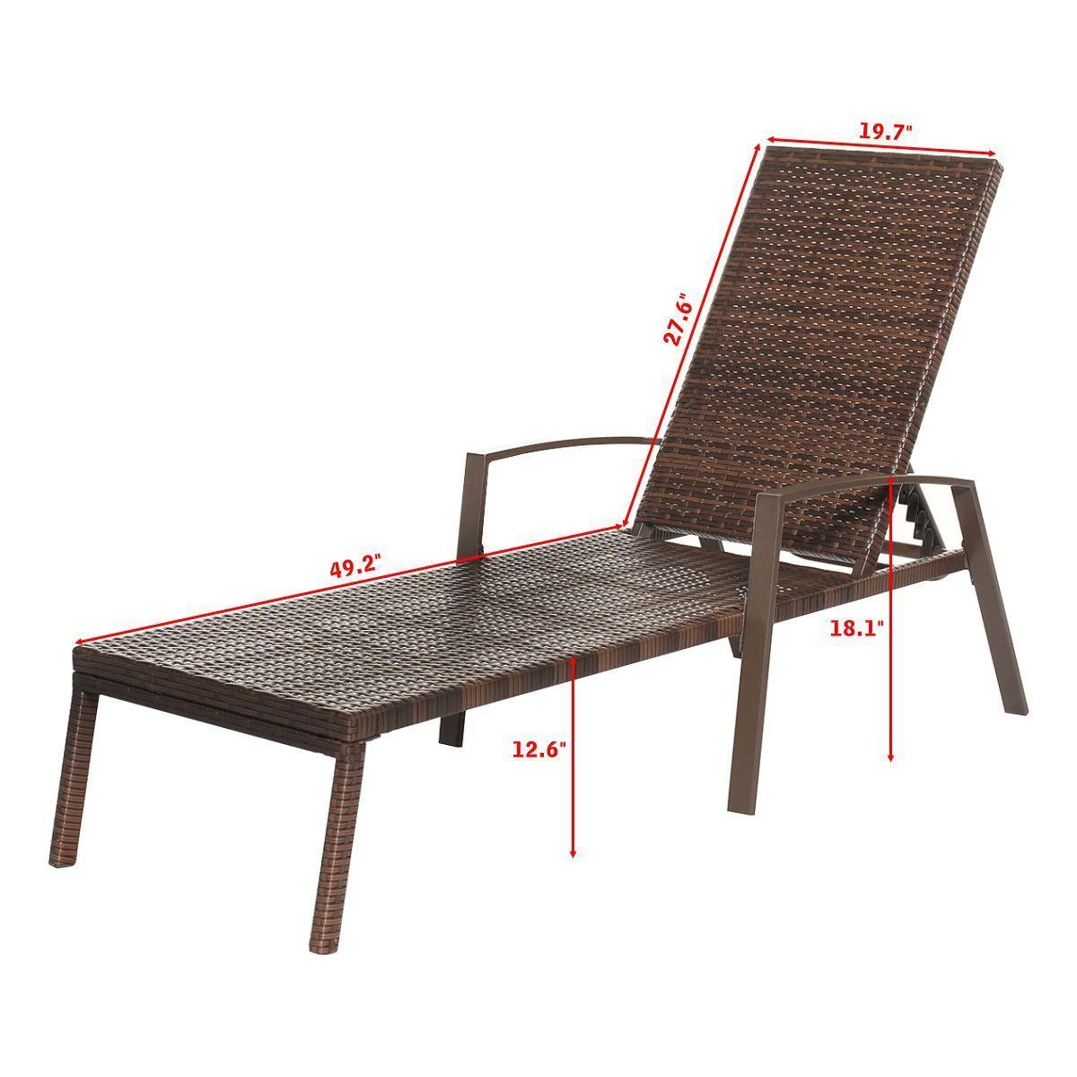 2pcs Patio Rattan Lounge Chair Garden Furniture Adjustable Back W/ Cushion - image 9 of 10