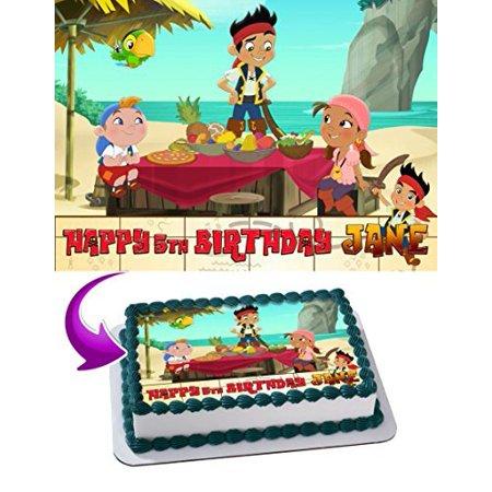 Jake and the Never Land Pirates Edible Cake Topper Personalized Birthday 1/4 Sheet Decoration Custom Sheet Birthday Frosting Transfer Fondant - Jake And The Neverland Pirates Cake Toppers
