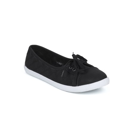 New Women Refresh Malibu Quilted Leatherette Capped Toe Lace Up Slip On Sneaker - Tween Camel Toes