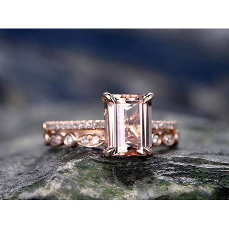 Vs2 Emerald Cut Diamond (2 Carat Emerald cut Real Morganite and Diamond Engagement Ring in 18k Gold Over Sterling Silver )