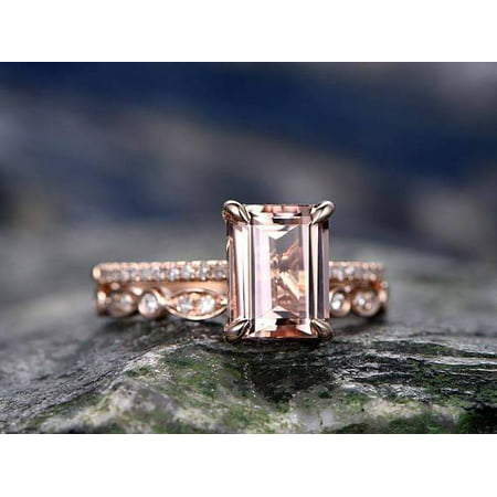 2 Carat Emerald cut Real Morganite and Diamond Engagement Ring in 18k Gold Over Sterling