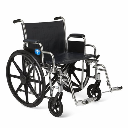 """Extra-Wide Wheelchair, 24"""" Wide Seat, 500 lb Capacity, Desk-Length Removable Arms, Swing Away Footrests"""