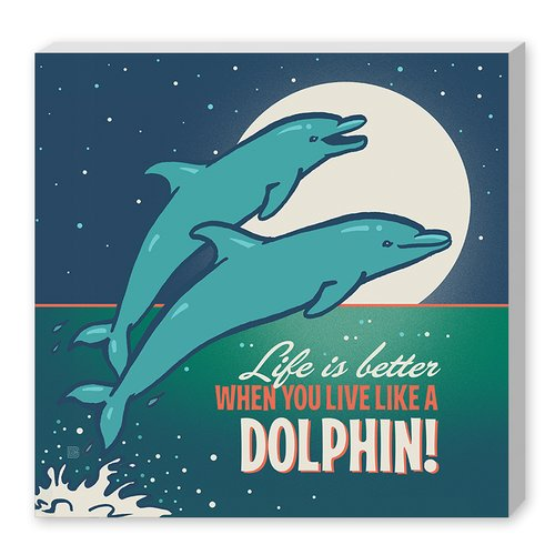 East Urban Home Dolphins  Textual Art on Wrapped Canvas