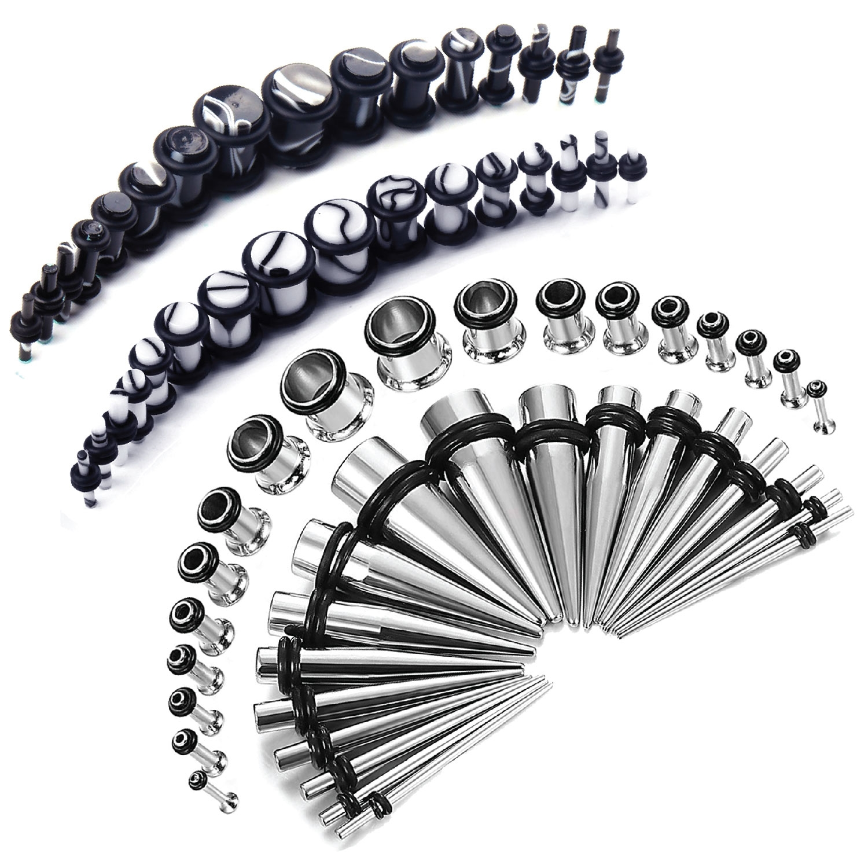 36Pcs 316L Surgical Steel Expanders Taper Kit Plug 14G-00G Ear Gauges Stretching