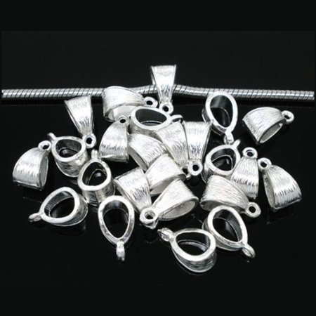 50 Pendant Bails Bead Hangers Bright Silver Silver 5 5mm Hole 14x7mm