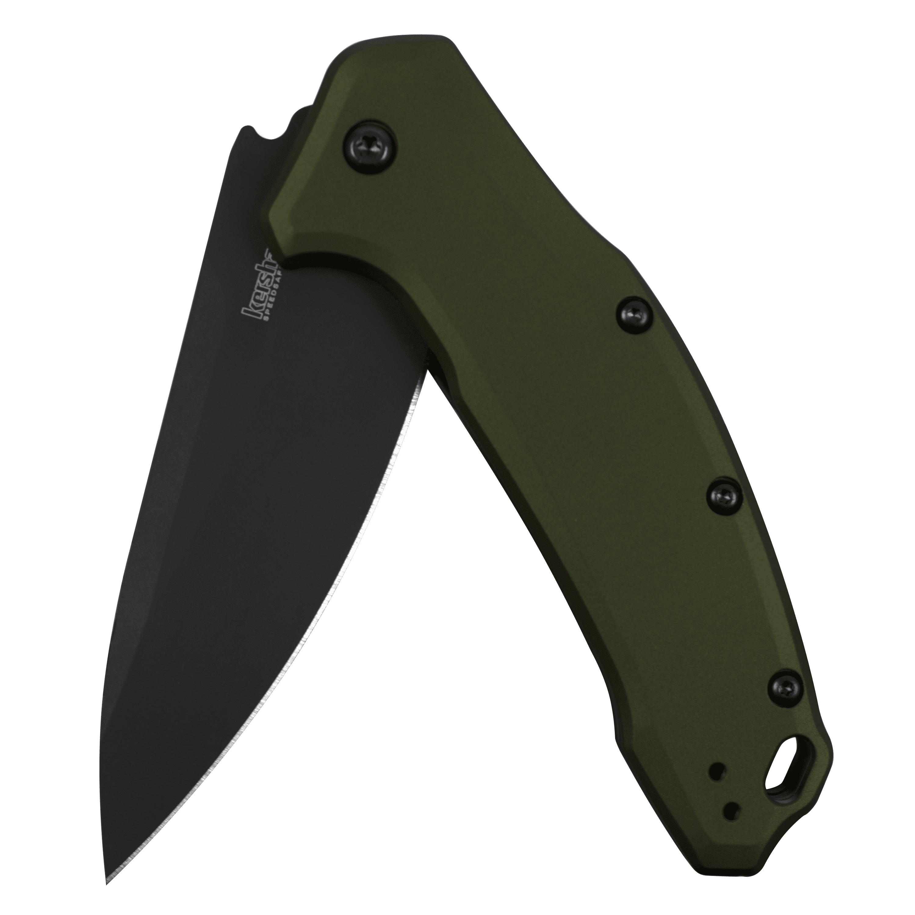 Kershaw Link Olive Black Pocket Knife (1776OLBLK) 7.6� 420HC Stainless Steel DLC Coated Blade; Machined Anodized... by KERSHAW KNIVES/KAI USA