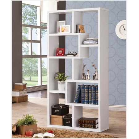 Coaster Company Interlocking 8 Shelf Wood White Bookcase for Home