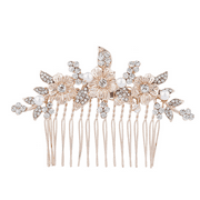 Lux Accessories Rose Gold Crystal Rhinestone Faux Pearl Flower Leaf Hair Comb