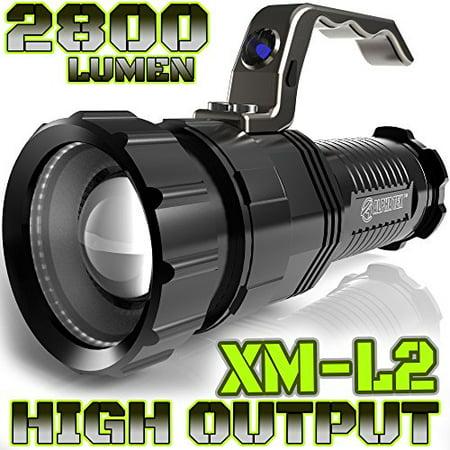 Alpha Tek Atk280 2 800 Lumen Cree Xm L2 T6 Led Rechargeable Spotlight  6 5 Inch  Black  No Battery
