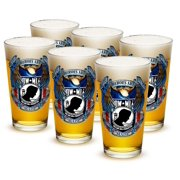 Patriotic 16 oz. Pint Glass Pow True Heroes (Set of 6) by Erazorbits