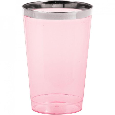 Creative Converting Silver Rimmed Pink 12 Oz. Plastic Glasses, 8 ct