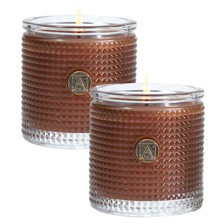 CINNAMON CIDER SET of 2 Aromatique Textured Glass Scented Jar Candle