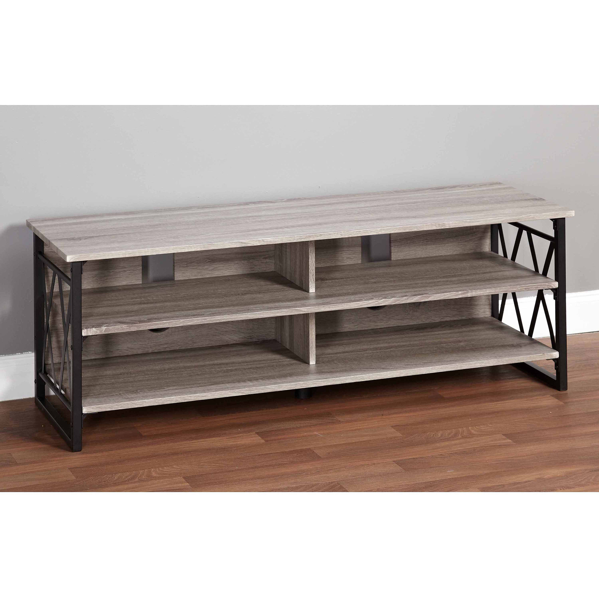 """Jaxx Collection TV Stand for TVs up to 60"""", Black/Gray"""