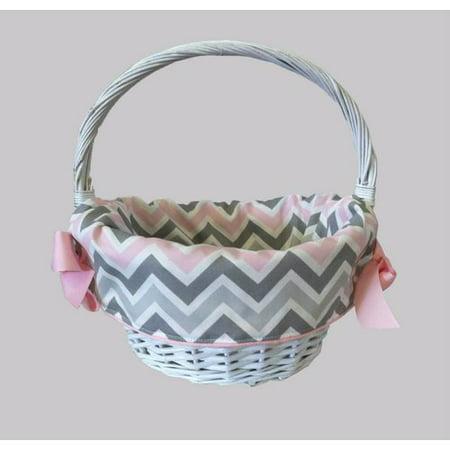 CaughtYaLookin' Pink/Gray Chevron Girl's Easter Cotton Basket Liner - Easter Basket Liners