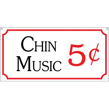 Chin Music 5c- 6x12 Aluminum Retro Man Cave Baseball Bar Club Sign