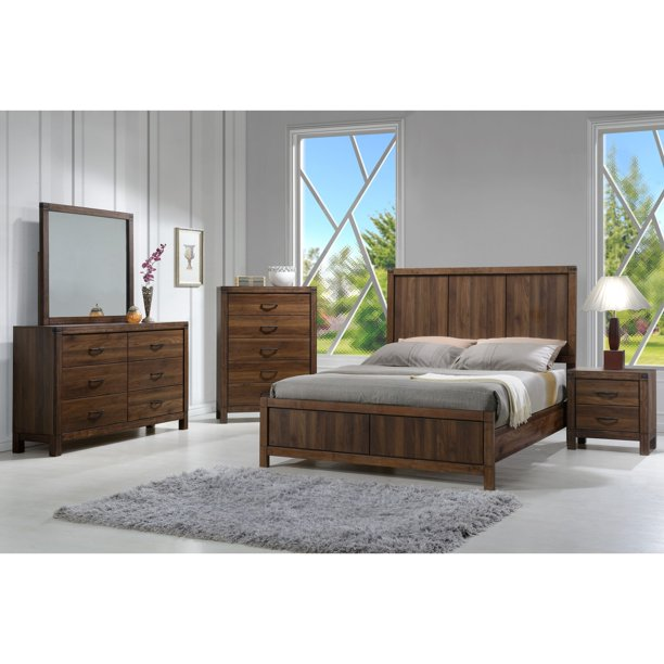 Contemporary Rustic Style Queen Size 5pc Bedroom Set Bed Dresser Mirror Nightstand Wooden Furniture Brown Walmart Com Walmart Com