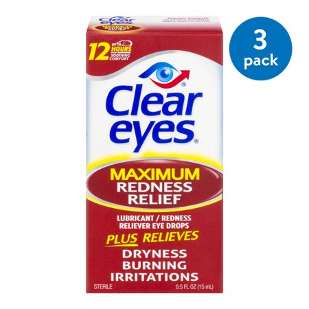 CLEAR EYES MAXIMUM REDNESS RELIEF 0.5 OZ 3-PACK (Crystal Clear Eyes)