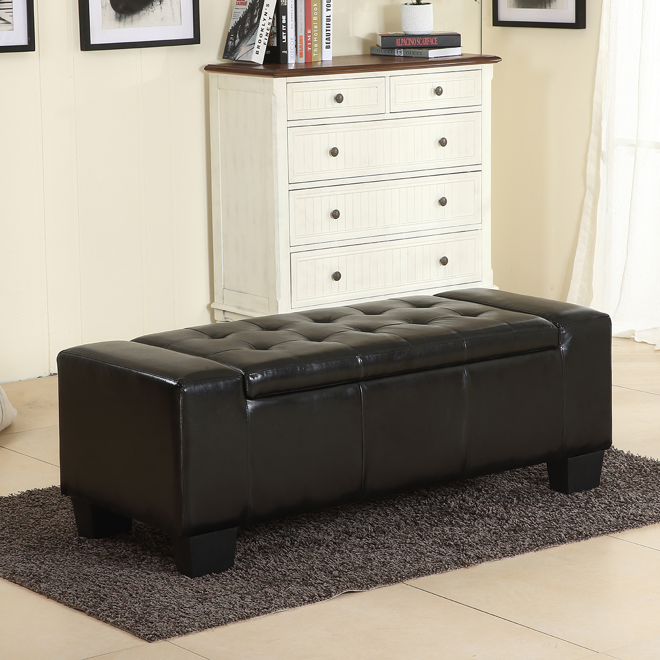 "Belleze 51"" Storage Ottoman Bench Black Faux Leather Large Rectangular Tufted"