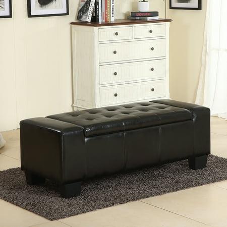 "Belleze 51"" Storage Ottoman Bench Black Faux Leather Large Rectangular Tufted"