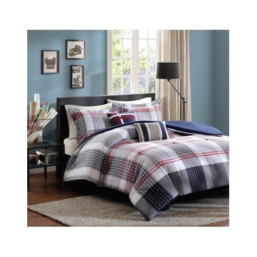 Red Blue Grey Plaid Comforter Boys Teen Bedding Set Pillow (twin/twin xl), Set includes: Comforter, two shams(one in twin/TXL set ), two pillows By D.I.D.