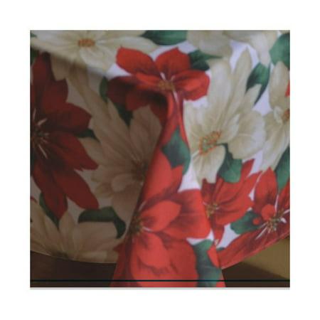Poinsettia Table Topper (The Holiday Aisle Provencher Poinsettia Tablecloth )