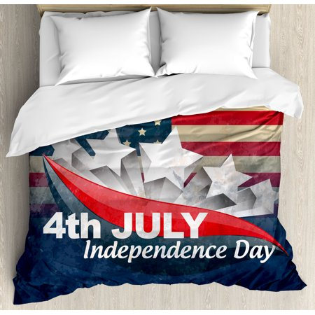 4th of July Decor Queen Size Duvet Cover Set, American Soldiers Standing with US Flag War Save Country Hero Liberty Display, Decorative 3 Piece Bedding Set with 2 Pillow Shams, Multi, by