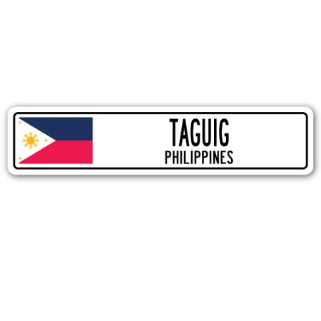 TAGUIG, PHILIPPINES Street Sign Filipino flag city country road wall gift