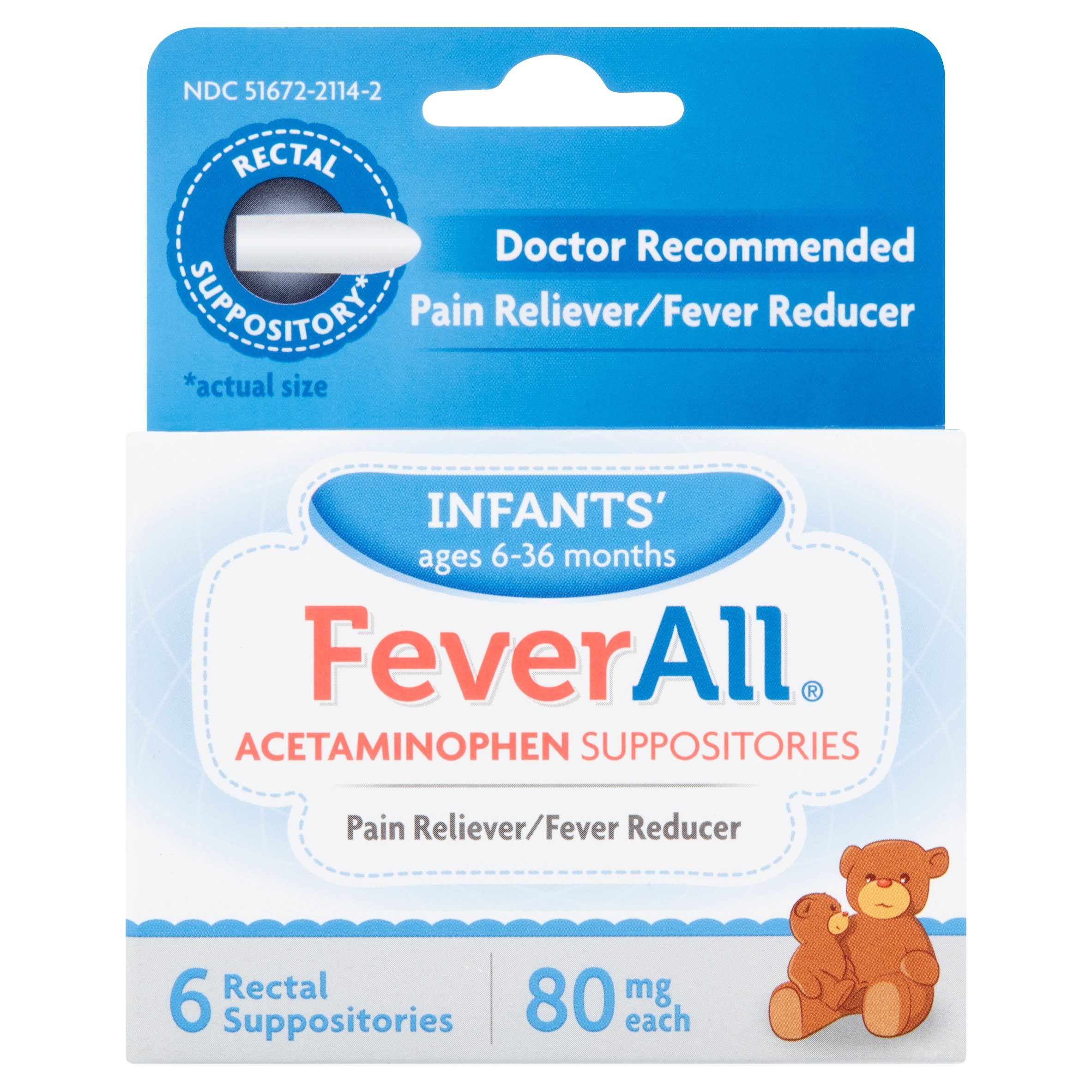 Fever All Acetaminophen Suppositories Infants' Ages 6-36 Months, 80 mg, 6 count