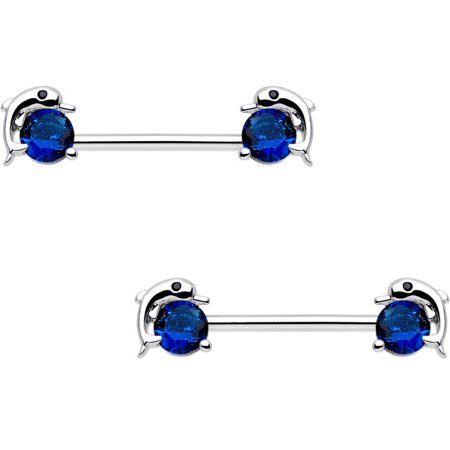Body Candy Steel Blue Accent Dreamy Dolphin Barbell Nipple Ring Set of 2 14 Gauge -