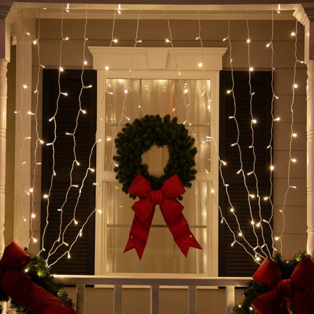 Image of 150 LED Curtain Lights Warm White Christmas Curtain Lights Indoor-Outdoor Curtain Lights for Room, Garden, Wedding, Party