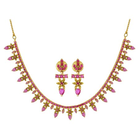 Gem Avenue Gold Plated Ruby Indian Bollywood Floral Jewelry Set 14 - 16 Inch Adjustable