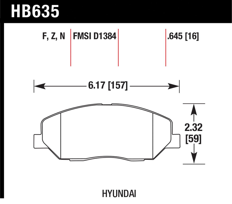 Hawk Performance Hb635f645 Hps Series Brake Pad Diagram