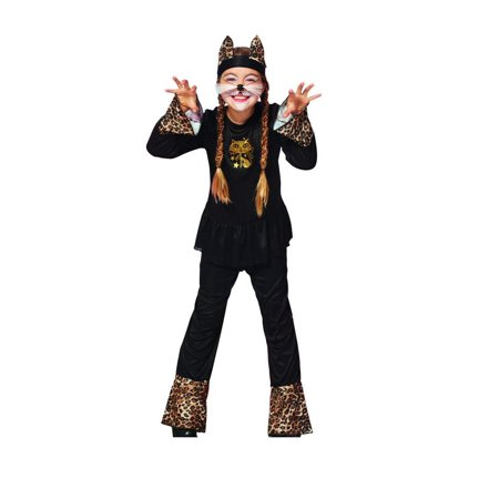 Black and Brown Leopard Print Cat Girls 3 Piece Halloween Children's Costume - Ages 10-12 Years - image 1 of 1