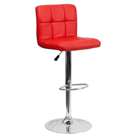 Flash Furniture Contemporary Quilted Vinyl Adjustable Height Barstool with Chrome Base, Multiple Colors (Red Bar Stools)