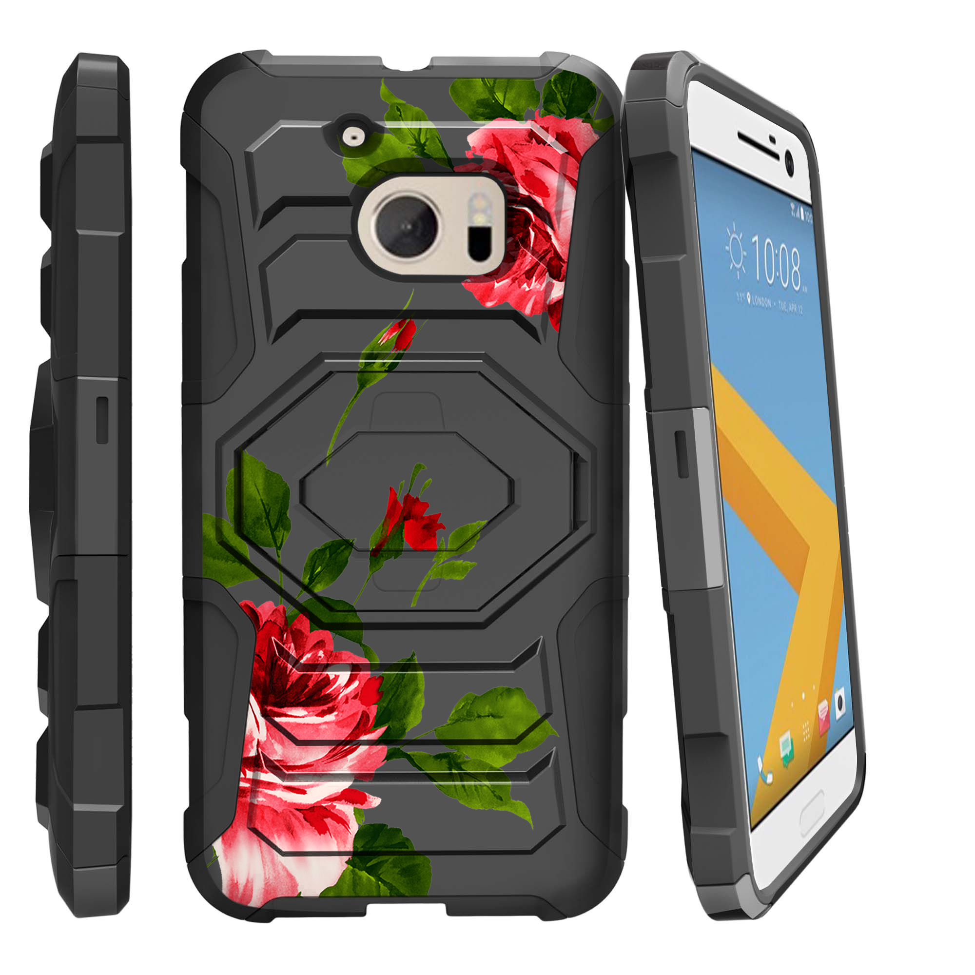 Case for HTC One M10   HTC Lifestyle Case [ Armor Reloaded ] Dual Layered Rugged Case with Kickstand and BONUS Holster - Affectionate Roses