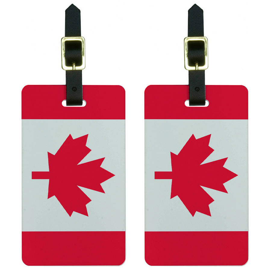 Graphics and More Canada Flag Luggage Tags Suitcase Carry-On ID, Set of 2