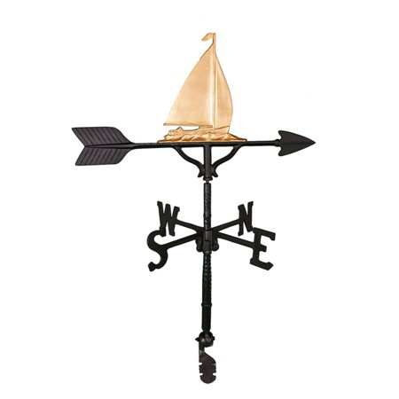 Gold Sailboat Weathervane - 32 - Golden Retriever Weathervane