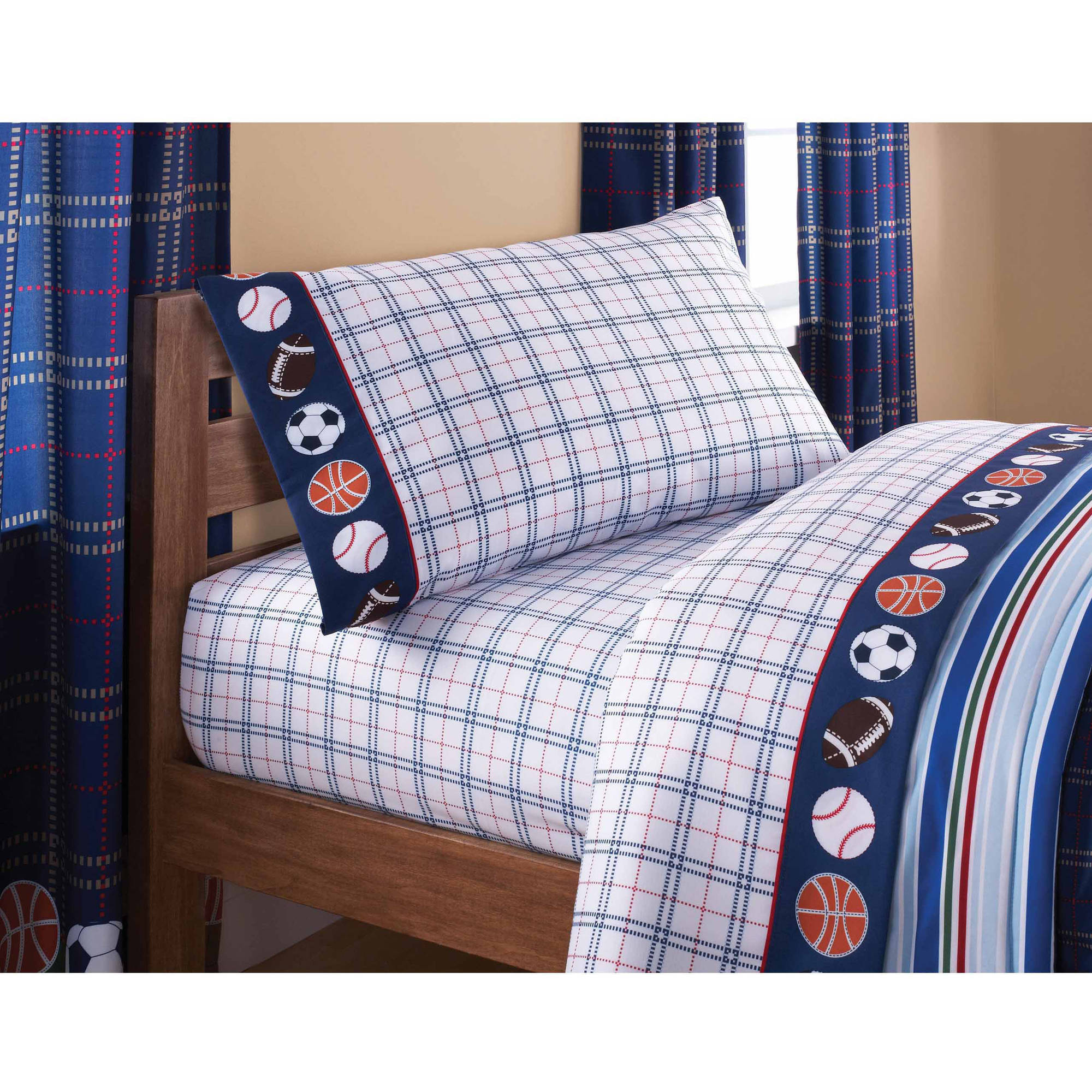 Mainstays Kids Sheet Set Walmartcom - Boys sports bedding sets twin