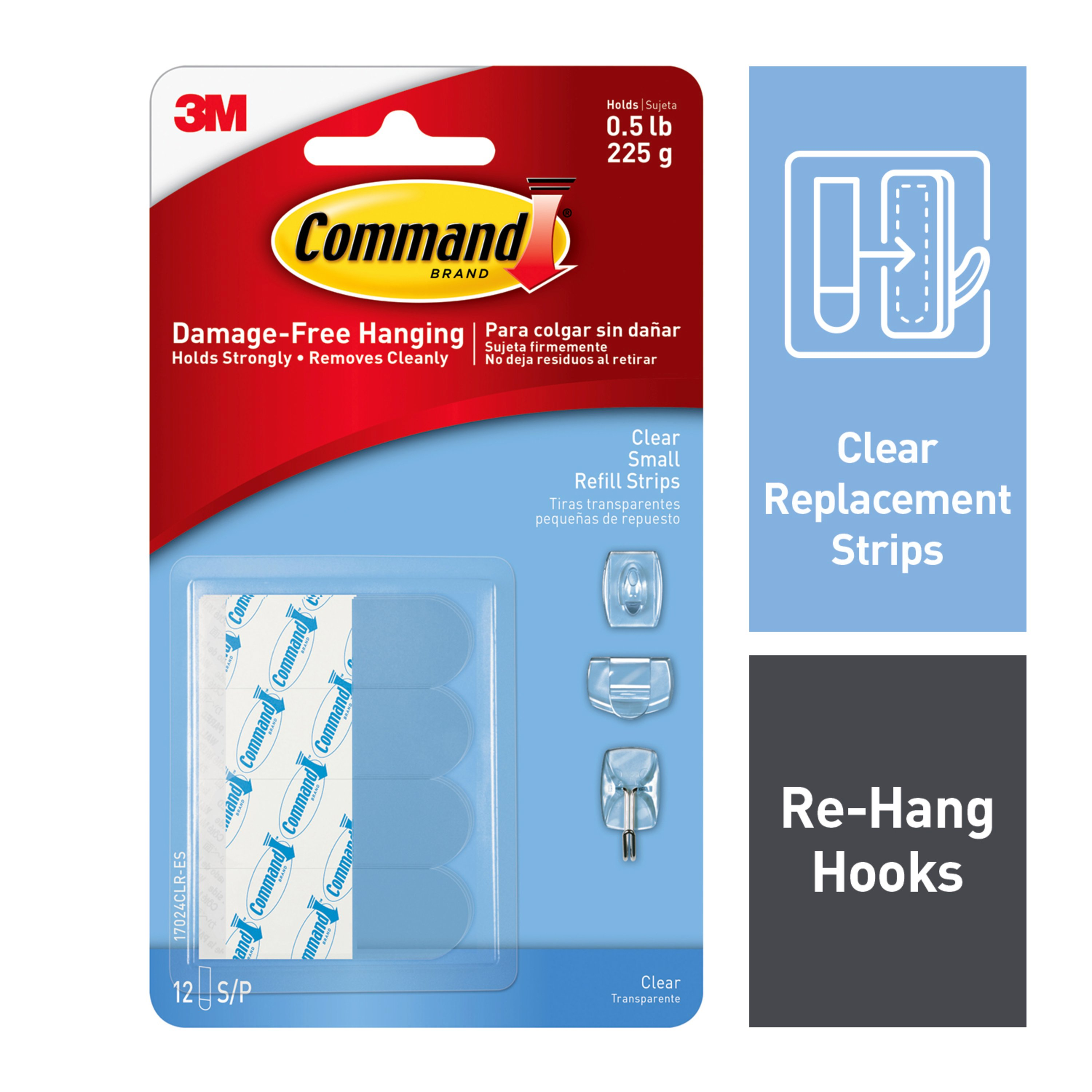 Command Refill Strips, Clear, Small, 12 Strips/Pack