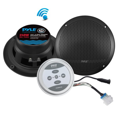 Pyle PLMRKT9 - Universal Mount Bluetooth Speaker & Amplifier System - Marine Grade Amp + Speaker Kit (6.5'' Speakers, 240 Watt)