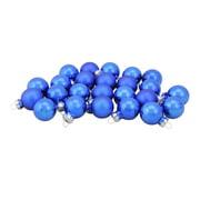 "24-Piece Shiny and Matte Royal Blue Glass Ball Christmas Ornament Set 1"" (25mm)"
