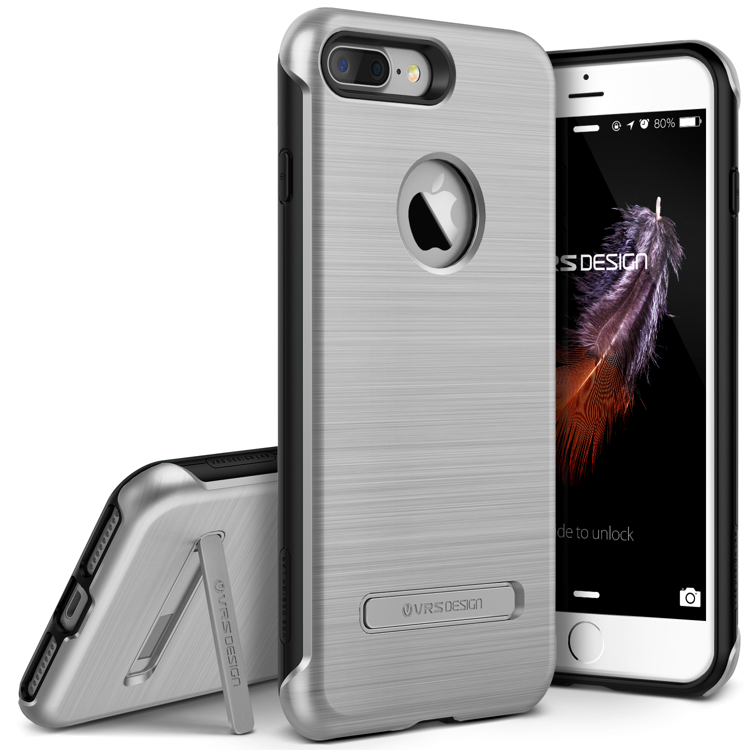 iPhone 7 Plus Case by VRS Design, Duo Guard Protective Kickstand Cover - Titanium Black